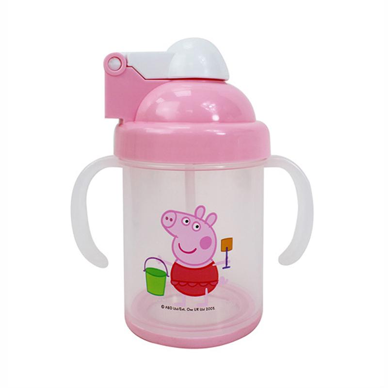 佩佩豬防滑自動吸管杯-粉紅版 PP54901A