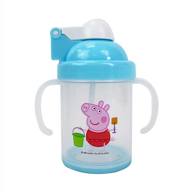 佩佩豬防滑自動吸管杯-藍版 PP54901B