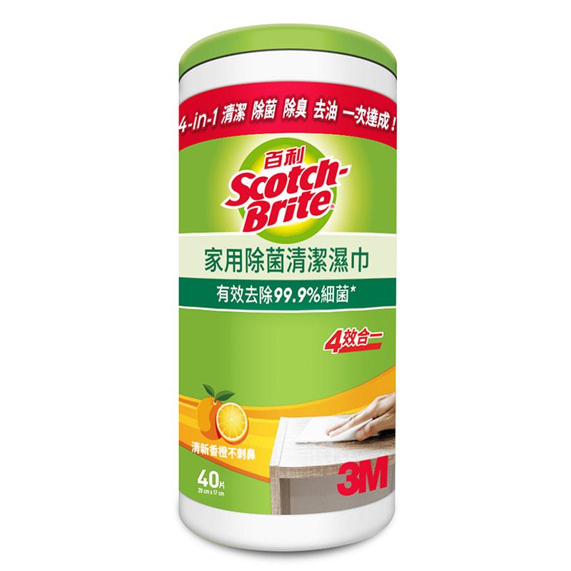 3M百利家用除菌清潔濕巾桶裝(40入)