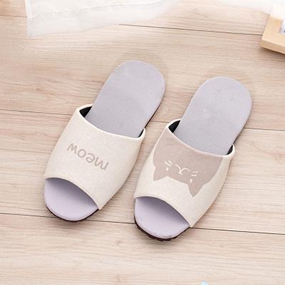 喵喵吸濕排汗室內拖鞋-咖M 96026