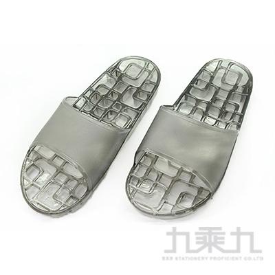 方格排水浴室拖鞋-黑S 74008