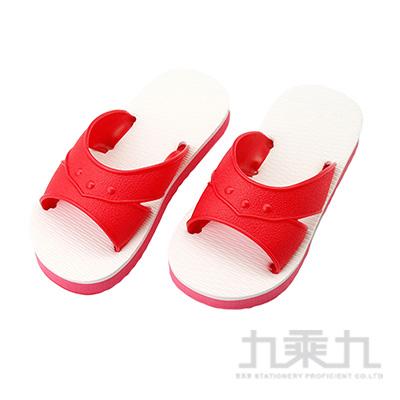 經典藍白童H拖鞋-紅6 83011