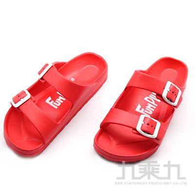 雙排扣室外童拖鞋-紅18 73004