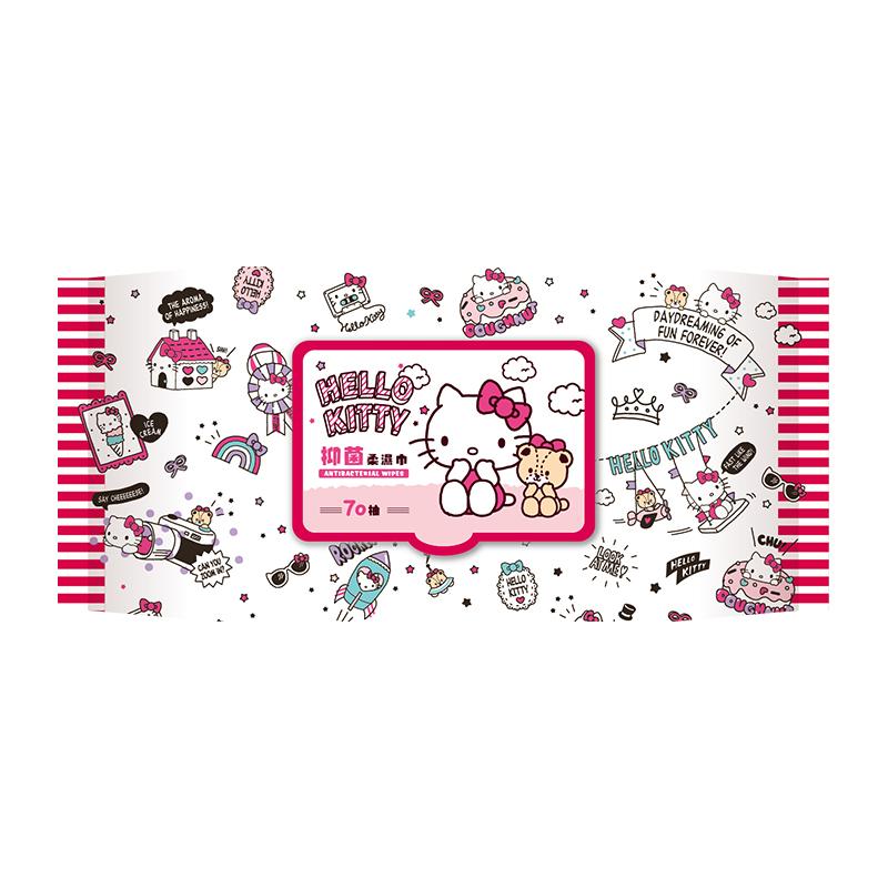 Hello Kitty 加蓋抑菌柔濕巾70抽-白