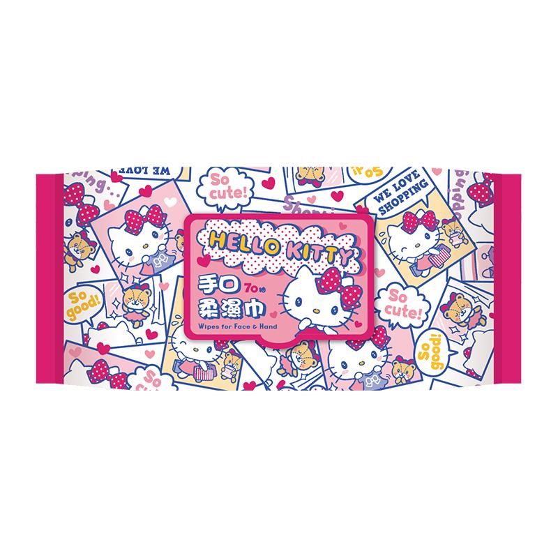 Hello Kitty 加蓋抑菌柔濕巾70抽-紅