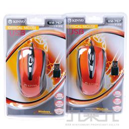 USB滑鼠黑色/橙紅 DM767B.C