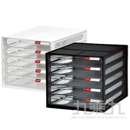 SHUTER 樹德 桌上型5抽資料櫃DD-105P 黑/白