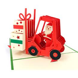 立體卡片 Santa Drives Forklift/聖誕禮物堆高機 15*15