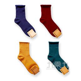 韓國中筒襪-純色捲邊