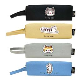 貓咪刺繡皮標大方筆袋