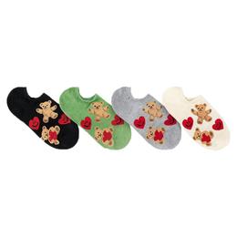 韓國船型襪-滿版微笑愛心熊熊