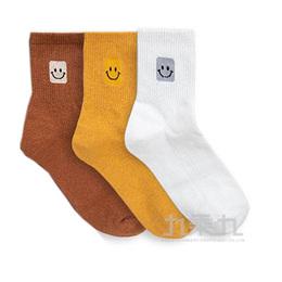 韓國中筒襪-方塊笑臉